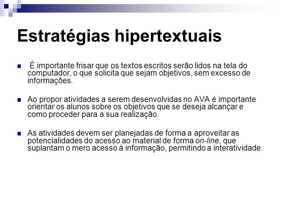 Estratégias hipertextuais É importante frisar que os textos escritos serão lidos na tela do computador, o que solicita que sejam objetivos, sem excesso de informações.
