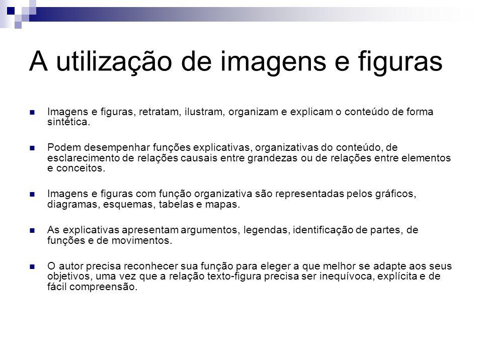 A utilização de imagens e figuras Imagens e figuras, retratam, ilustram, organizam e explicam o conteúdo de forma sintética. Podem desempenhar funções
