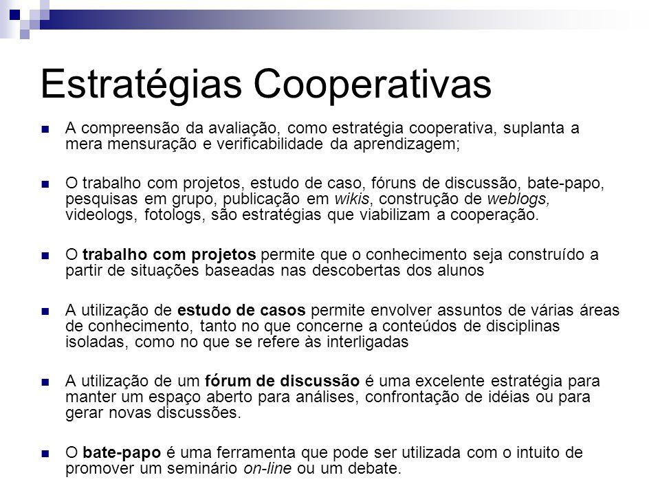 Estratégias Cooperativas A compreensão da avaliação, como estratégia cooperativa, suplanta a mera mensuração e verificabilidade da aprendizagem; O trabalho com projetos, estudo de caso, fóruns de discussão, bate-papo, pesquisas em grupo, publicação em wikis, construção de weblogs, videologs, fotologs, são estratégias que viabilizam a cooperação.