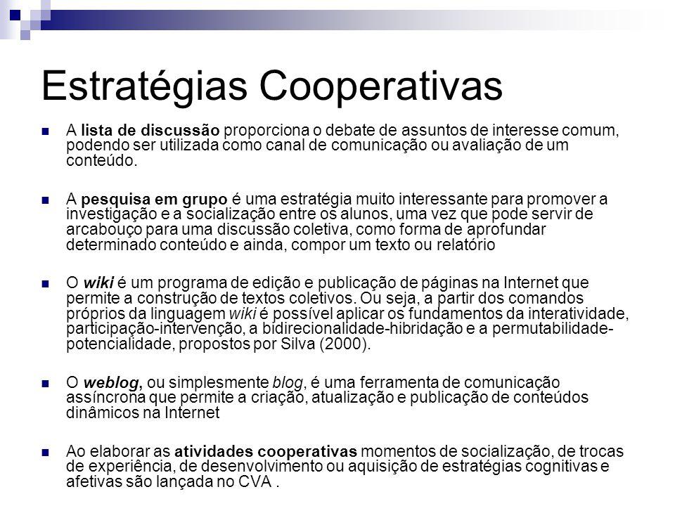Estratégias Cooperativas A lista de discussão proporciona o debate de assuntos de interesse comum, podendo ser utilizada como canal de comunicação ou avaliação de um conteúdo.