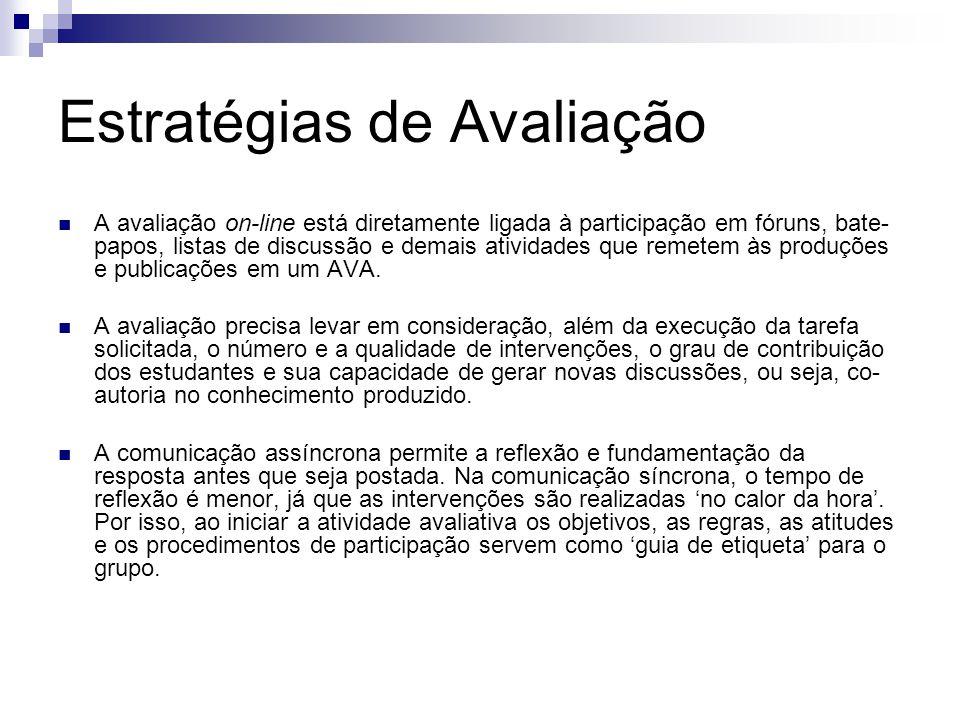 Estratégias de Avaliação A avaliação on-line está diretamente ligada à participação em fóruns, bate- papos, listas de discussão e demais atividades que remetem às produções e publicações em um AVA.