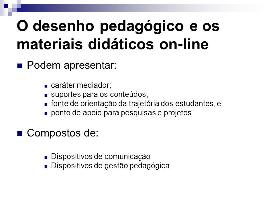 O desenho pedagógico e os materiais didáticos on-line Podem apresentar: caráter mediador; suportes para os conteúdos, fonte de orientação da trajetóri