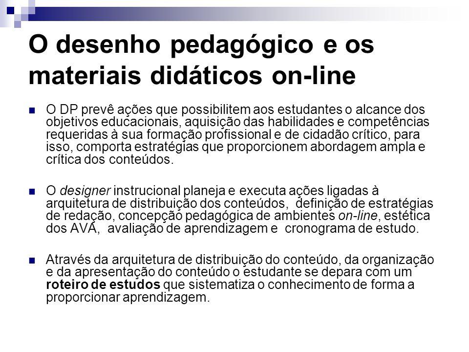 O desenho pedagógico e os materiais didáticos on-line O DP prevê ações que possibilitem aos estudantes o alcance dos objetivos educacionais, aquisição