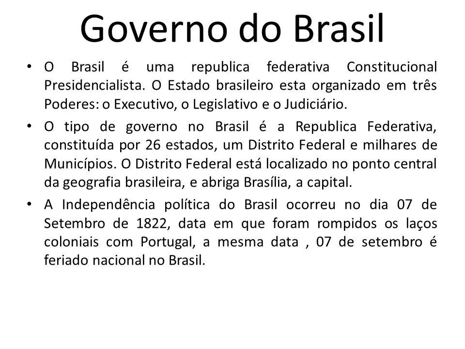 Governo do Brasil O Brasil é uma republica federativa Constitucional Presidencialista. O Estado brasileiro esta organizado em três Poderes: o Executiv