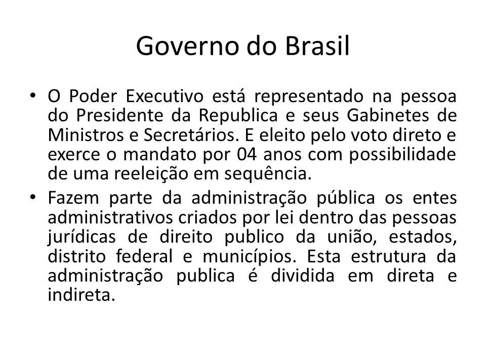 Governo do Brasil O Poder Executivo está representado na pessoa do Presidente da Republica e seus Gabinetes de Ministros e Secretários. E eleito pelo