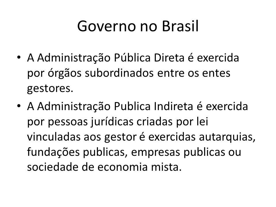 Governo no Brasil A Administração Pública Direta é exercida por órgãos subordinados entre os entes gestores. A Administração Publica Indireta é exerci