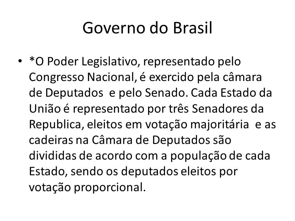 Governo do Brasil *O Poder Legislativo, representado pelo Congresso Nacional, é exercido pela câmara de Deputados e pelo Senado. Cada Estado da União