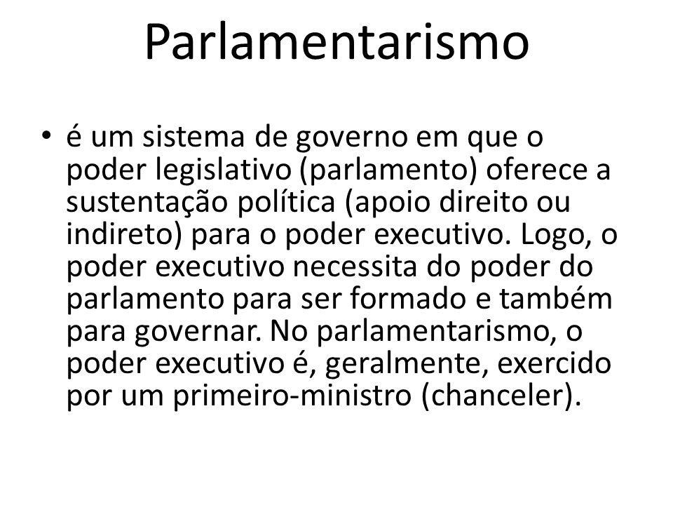 Parlamentarismo é um sistema de governo em que o poder legislativo (parlamento) oferece a sustentação política (apoio direito ou indireto) para o pode