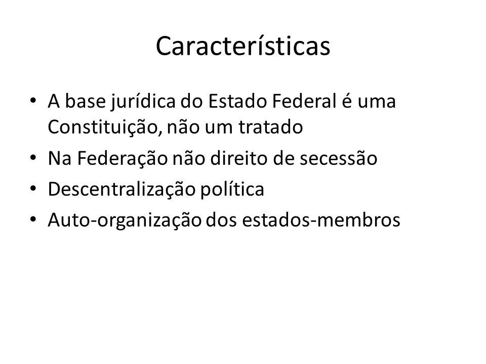 Características A base jurídica do Estado Federal é uma Constituição, não um tratado Na Federação não direito de secessão Descentralização política Au