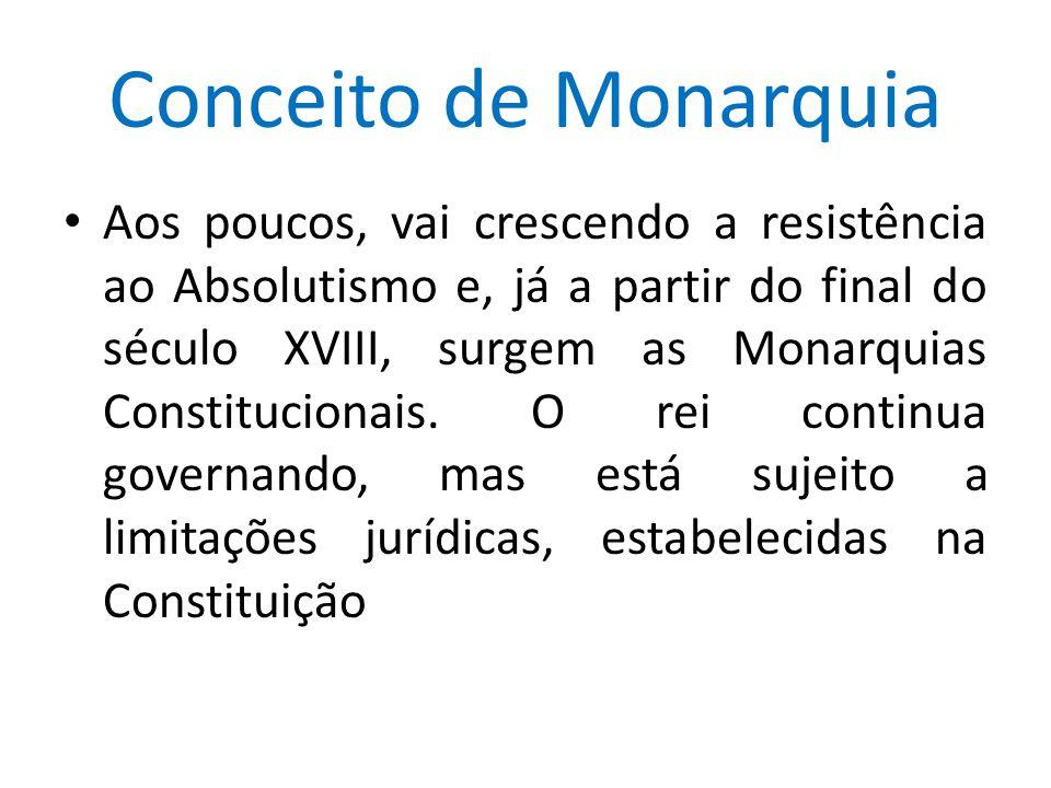 Conceito de Monarquia Aos poucos, vai crescendo a resistência ao Absolutismo e, já a partir do final do século XVIII, surgem as Monarquias Constitucio