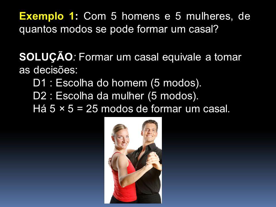 Exemplo 1: Com 5 homens e 5 mulheres, de quantos modos se pode formar um casal? SOLUÇÃO: Formar um casal equivale a tomar as decisões: D1 : Escolha do