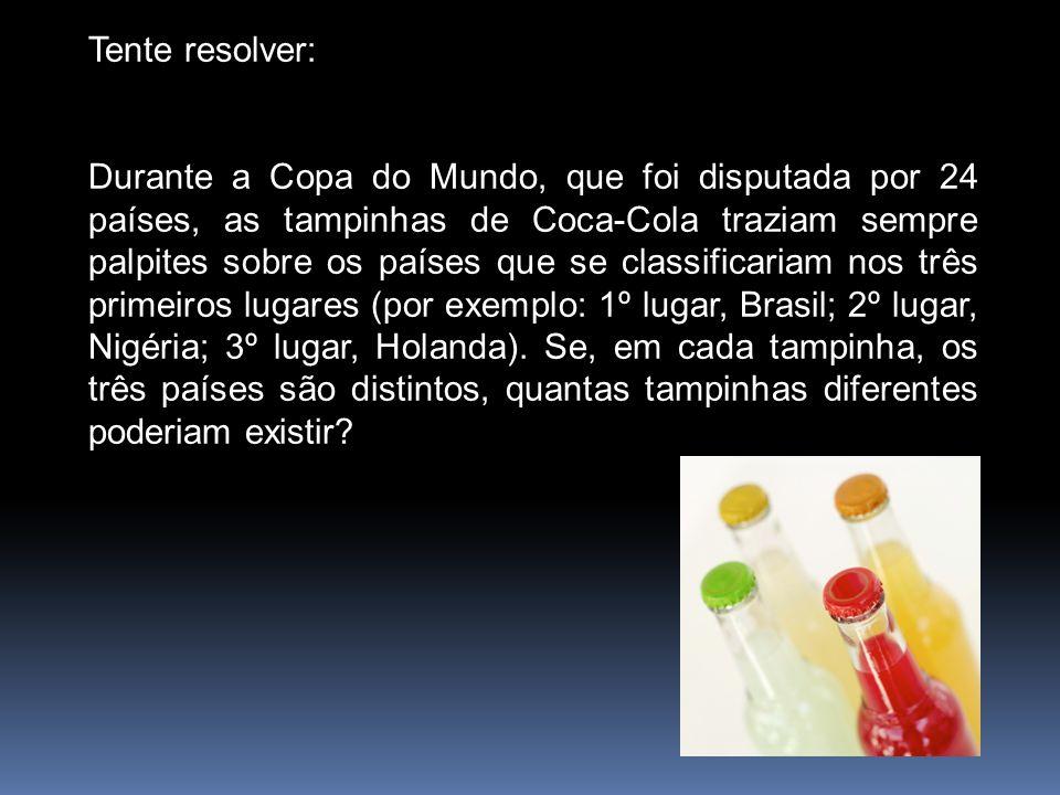 Tente resolver: Durante a Copa do Mundo, que foi disputada por 24 países, as tampinhas de Coca-Cola traziam sempre palpites sobre os países que se cla