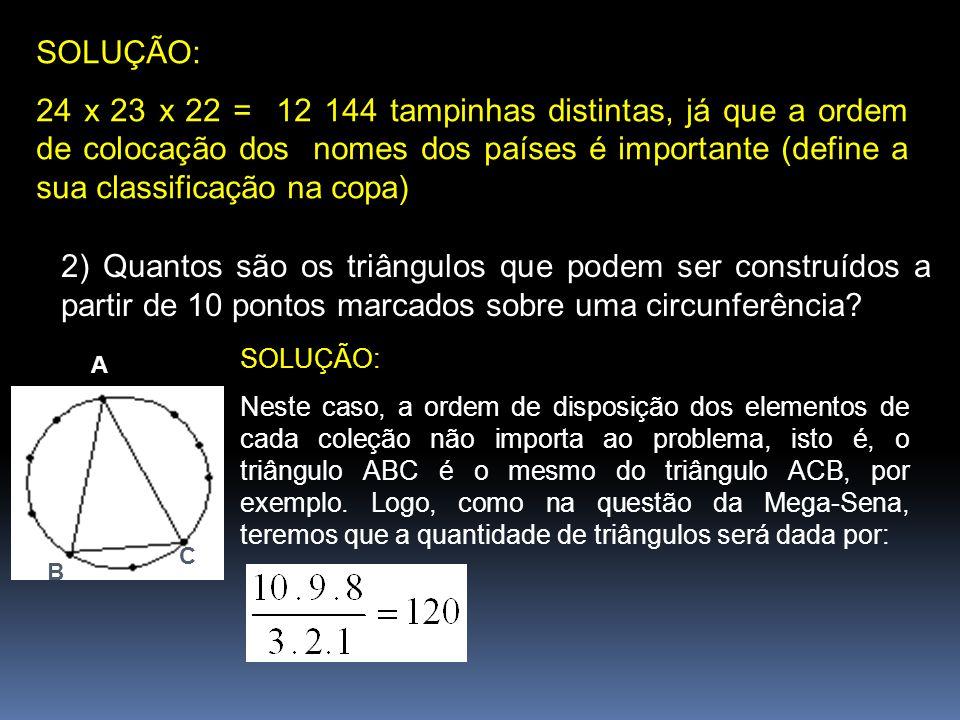 SOLUÇÃO: 24 x 23 x 22 = 12 144 tampinhas distintas, já que a ordem de colocação dos nomes dos países é importante (define a sua classificação na copa)