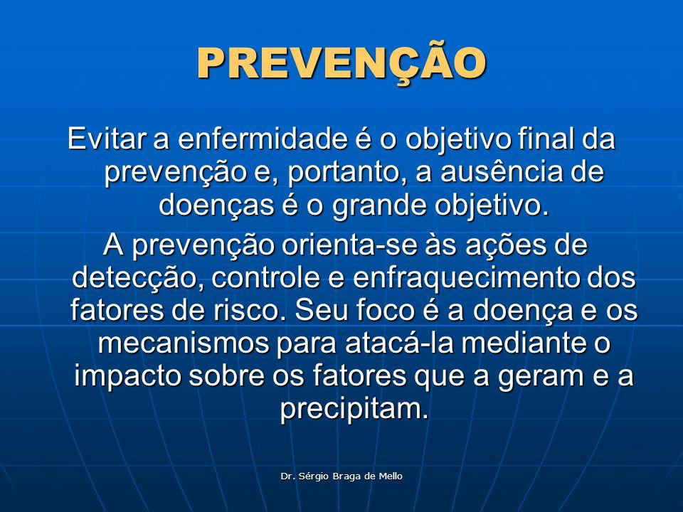 Dr. Sérgio Braga de Mello PREVENÇÃO Evitar a enfermidade é o objetivo final da prevenção e, portanto, a ausência de doenças é o grande objetivo. A pre