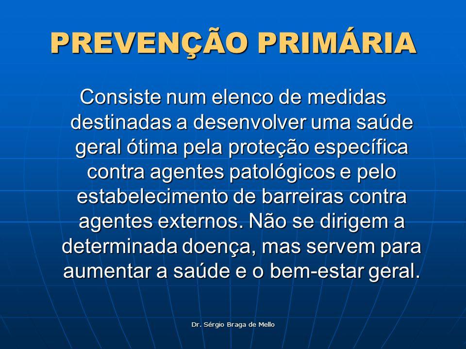 Dr. Sérgio Braga de Mello PREVENÇÃO PRIMÁRIA Consiste num elenco de medidas destinadas a desenvolver uma saúde geral ótima pela proteção específica co