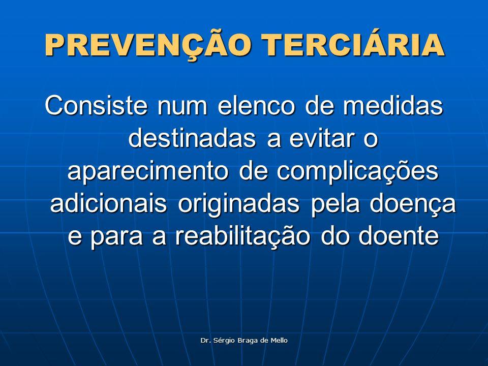 Dr. Sérgio Braga de Mello PREVENÇÃO TERCIÁRIA Consiste num elenco de medidas destinadas a evitar o aparecimento de complicações adicionais originadas