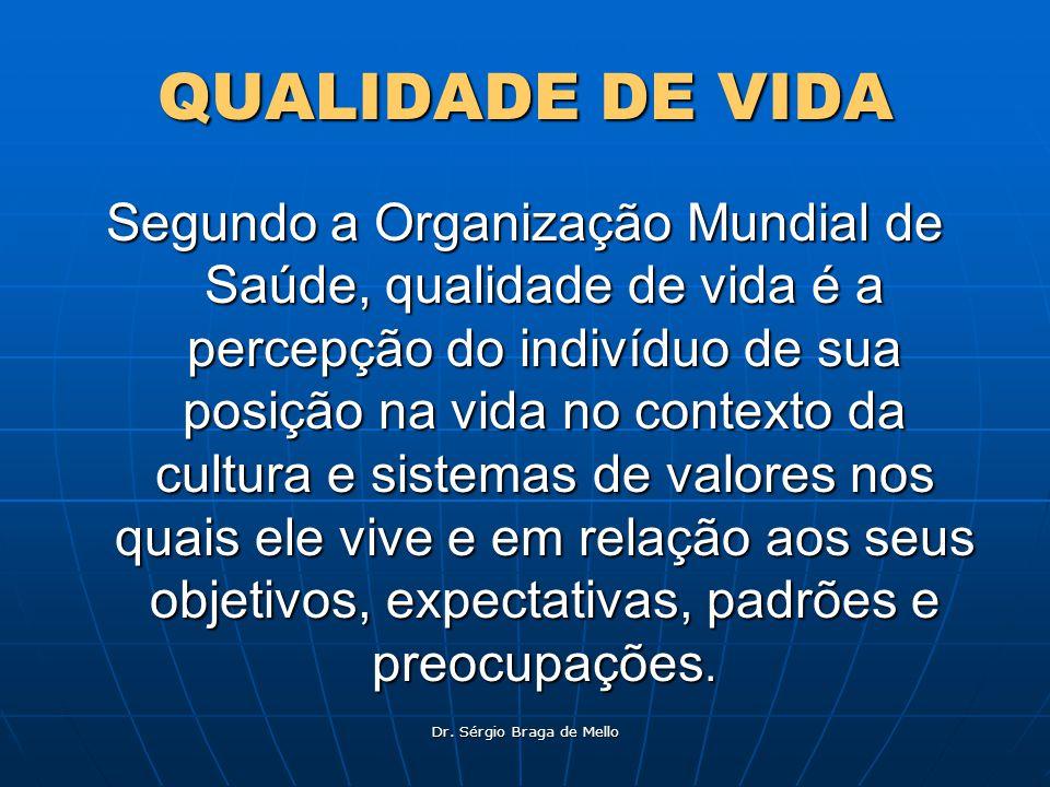 QUALIDADE DE VIDA Segundo a Organização Mundial de Saúde, qualidade de vida é a percepção do indivíduo de sua posição na vida no contexto da cultura e