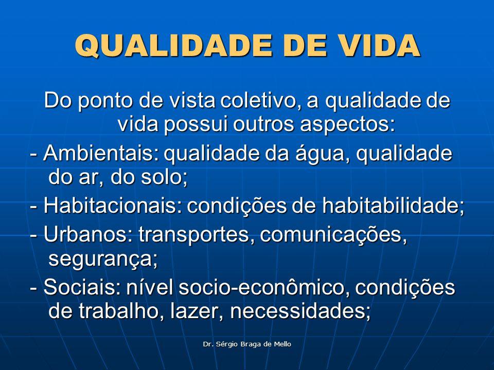 Dr. Sérgio Braga de Mello QUALIDADE DE VIDA Do ponto de vista coletivo, a qualidade de vida possui outros aspectos: - Ambientais: qualidade da água, q