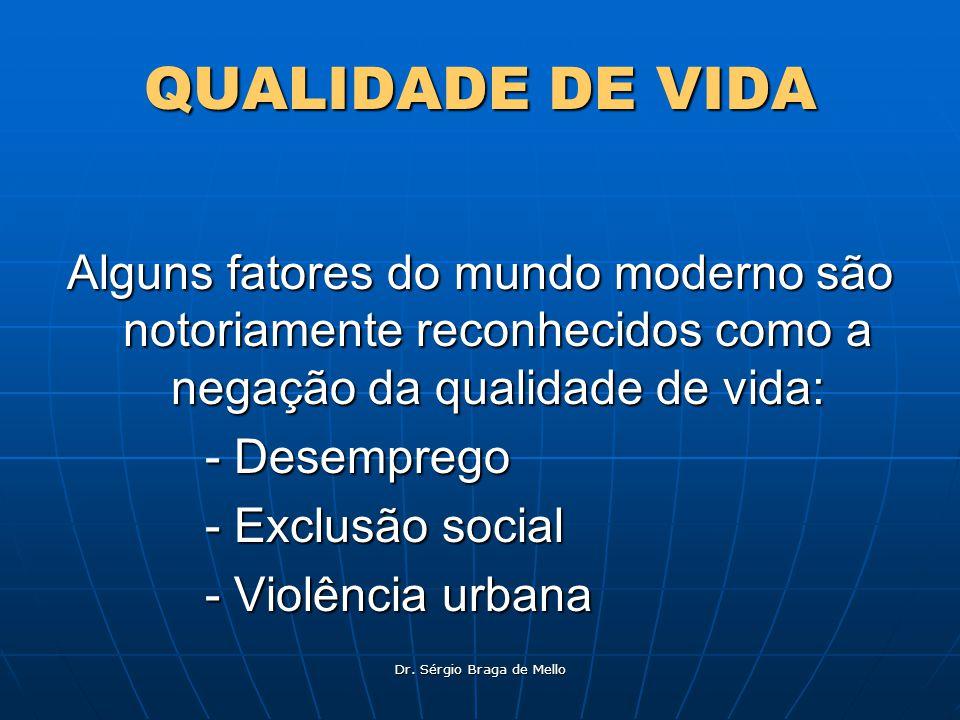 Dr. Sérgio Braga de Mello QUALIDADE DE VIDA Alguns fatores do mundo moderno são notoriamente reconhecidos como a negação da qualidade de vida: - Desem