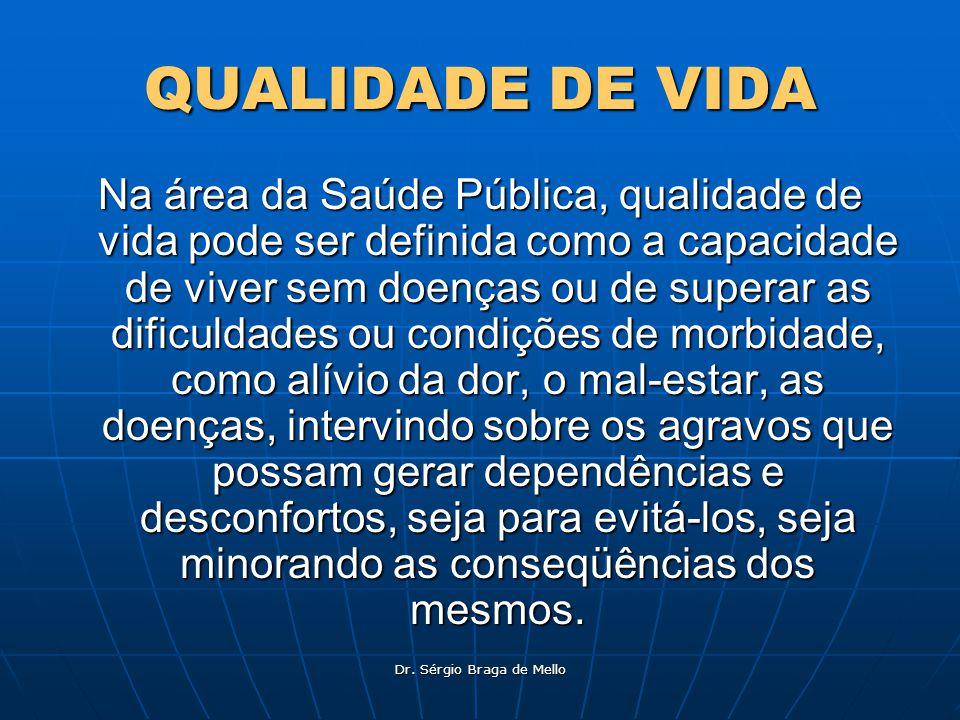 Dr. Sérgio Braga de Mello QUALIDADE DE VIDA Na área da Saúde Pública, qualidade de vida pode ser definida como a capacidade de viver sem doenças ou de