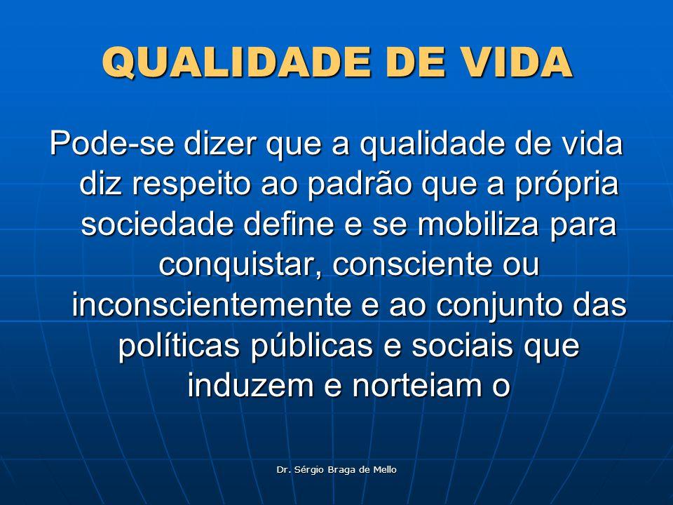 Dr. Sérgio Braga de Mello QUALIDADE DE VIDA Pode-se dizer que a qualidade de vida diz respeito ao padrão que a própria sociedade define e se mobiliza