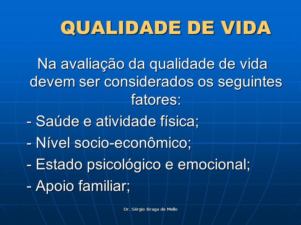 Dr. Sérgio Braga de Mello QUALIDADE DE VIDA Na avaliação da qualidade de vida devem ser considerados os seguintes fatores: Na avaliação da qualidade d