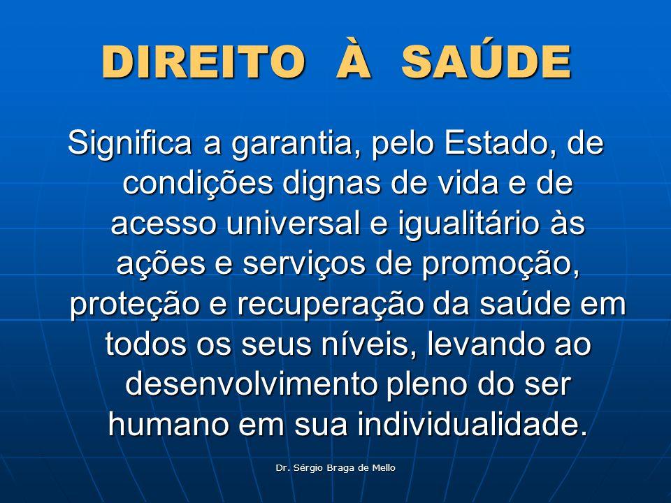 Dr. Sérgio Braga de Mello DIREITO À SAÚDE Significa a garantia, pelo Estado, de condições dignas de vida e de acesso universal e igualitário às ações