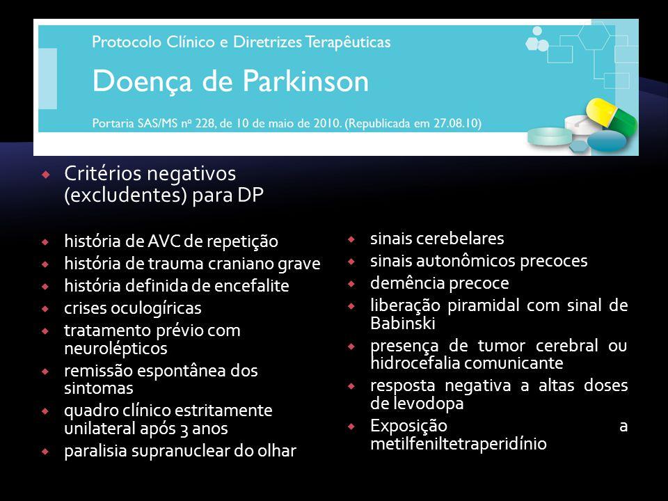 Critérios negativos (excludentes) para DP história de AVC de repetição história de trauma craniano grave história definida de encefalite crises oculog