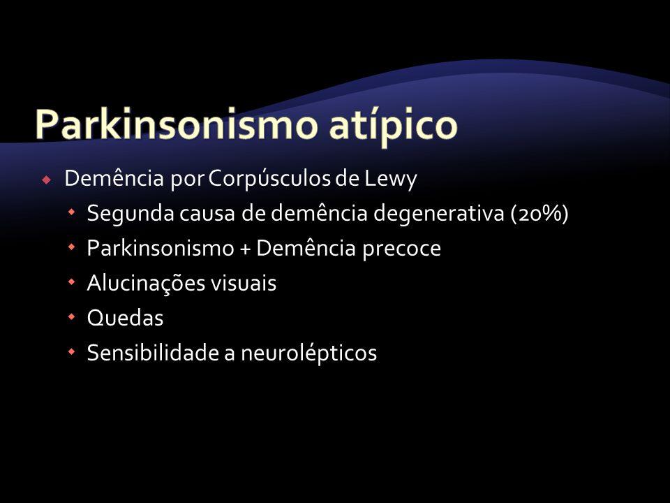 Demência por Corpúsculos de Lewy Segunda causa de demência degenerativa (20%) Parkinsonismo + Demência precoce Alucinações visuais Quedas Sensibilidad
