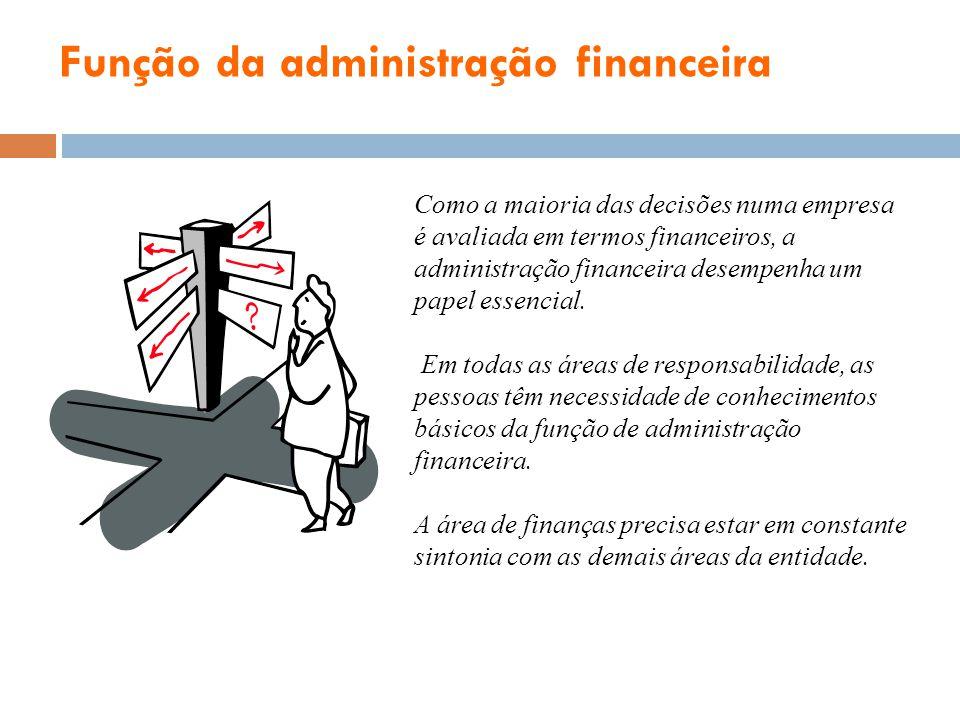 Função da administração financeira Como a maioria das decisões numa empresa é avaliada em termos financeiros, a administração financeira desempenha um