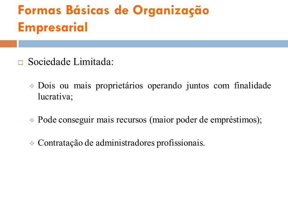 Formas Básicas de Organização Empresarial Sociedade Limitada: Dois ou mais proprietários operando juntos com finalidade lucrativa; Pode conseguir mais