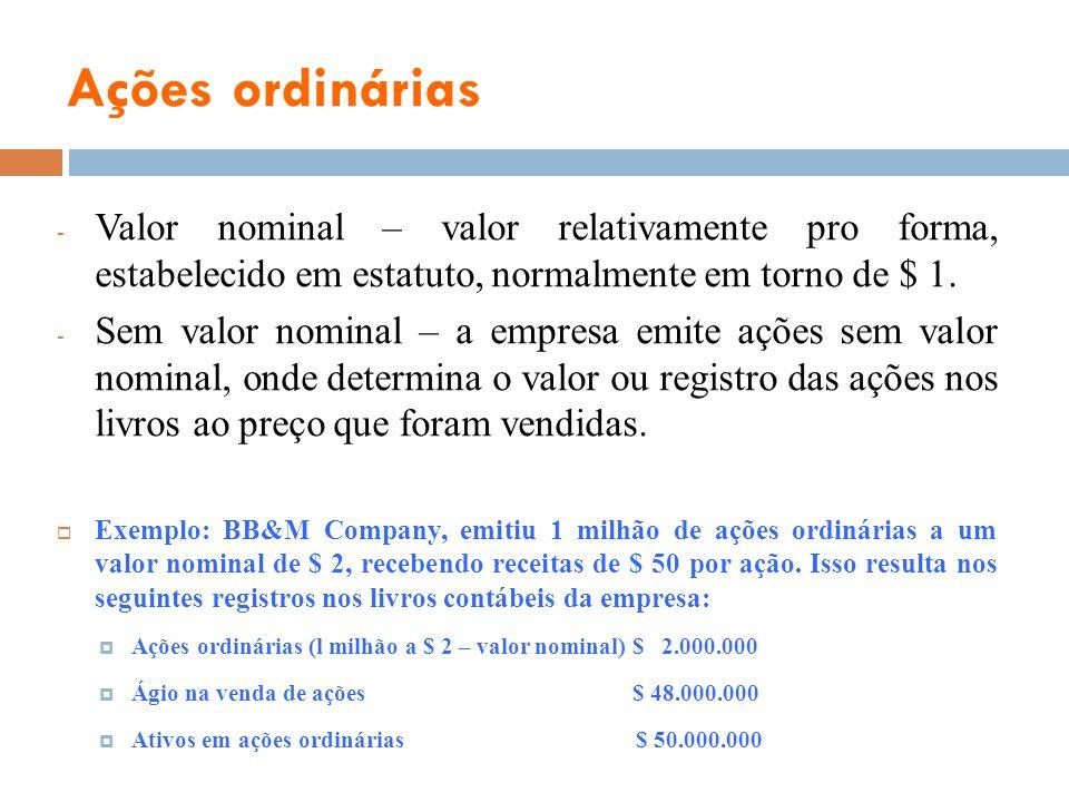 Ações ordinárias - Valor nominal – valor relativamente pro forma, estabelecido em estatuto, normalmente em torno de $ 1. - Sem valor nominal – a empre