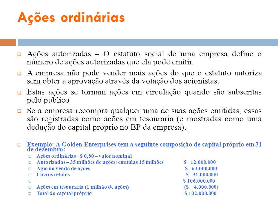 Ações ordinárias Ações autorizadas – O estatuto social de uma empresa define o número de ações autorizadas que ela pode emitir. A empresa não pode ven