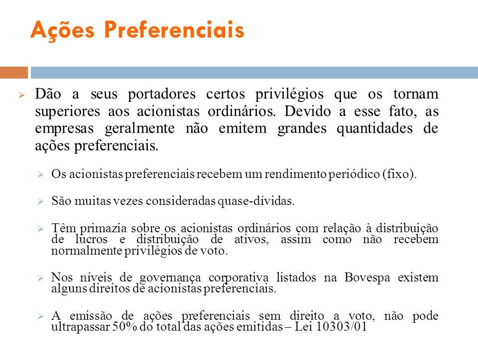 Ações Preferenciais Dão a seus portadores certos privilégios que os tornam superiores aos acionistas ordinários. Devido a esse fato, as empresas geral