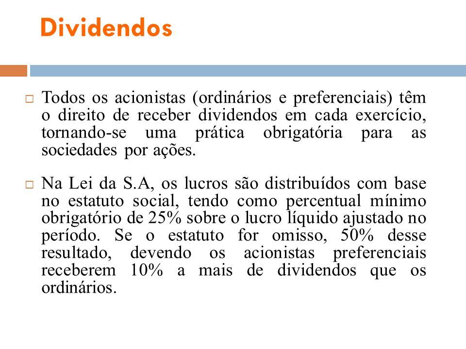 Dividendos Todos os acionistas (ordinários e preferenciais) têm o direito de receber dividendos em cada exercício, tornando-se uma prática obrigatória