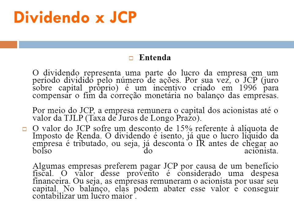 Dividendo x JCP Entenda O dividendo representa uma parte do lucro da empresa em um período dividido pelo número de ações. Por sua vez, o JCP (juro sob