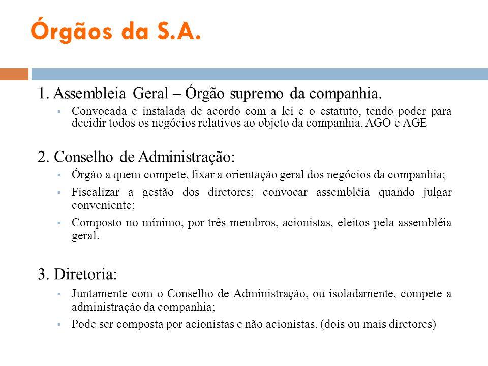 Órgãos da S.A. 1. Assembleia Geral – Órgão supremo da companhia. Convocada e instalada de acordo com a lei e o estatuto, tendo poder para decidir todo