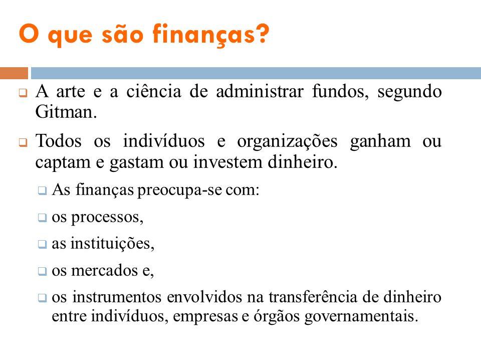 O que são finanças? A arte e a ciência de administrar fundos, segundo Gitman. Todos os indivíduos e organizações ganham ou captam e gastam ou investem