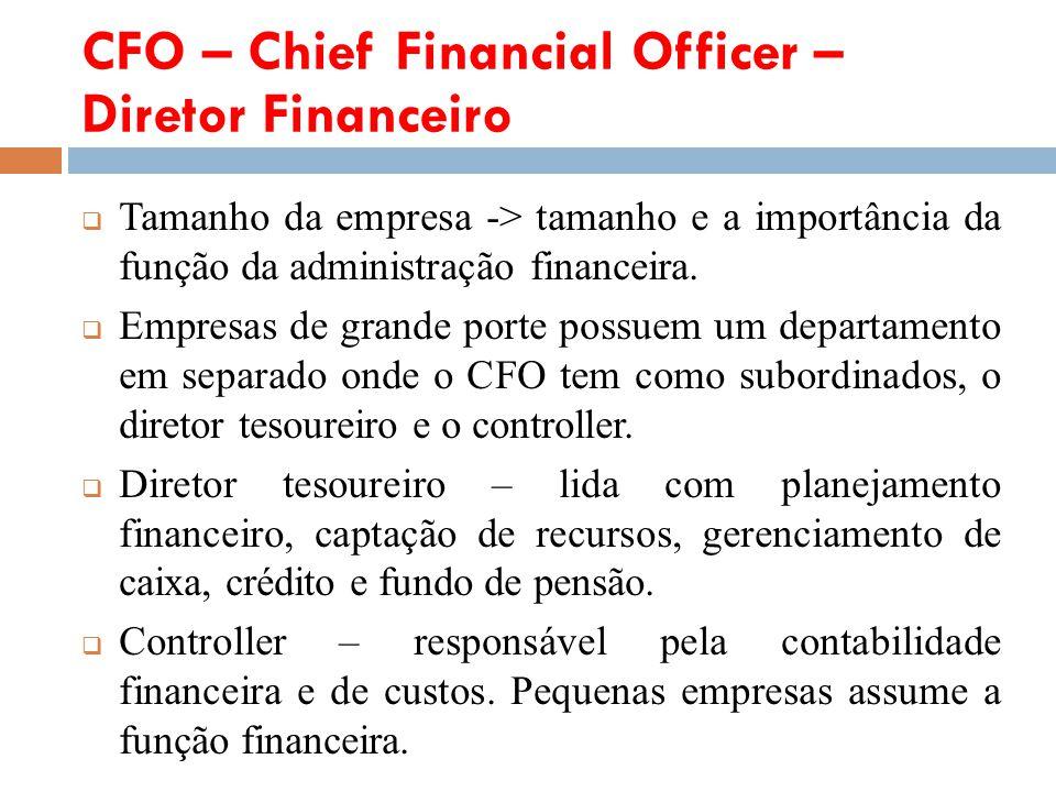 CFO – Chief Financial Officer – Diretor Financeiro Tamanho da empresa -> tamanho e a importância da função da administração financeira. Empresas de gr