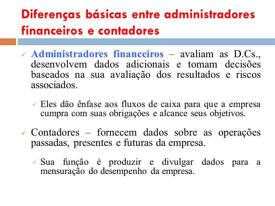Diferenças básicas entre administradores financeiros e contadores Administradores financeiros – avaliam as D.Cs., desenvolvem dados adicionais e tomam