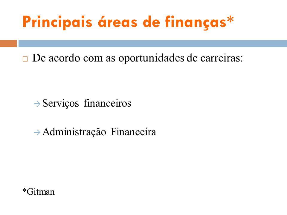Principais áreas de finanças* Serviços financeiros: área de finanças voltada à concepção e à assessoria, tanto na entrega de produtos financeiros a indivíduos, empresas e governo.