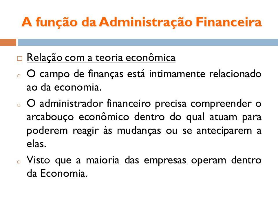 A função da Administração Financeira Relação com a teoria econômica o O campo de finanças está intimamente relacionado ao da economia. o O administrad