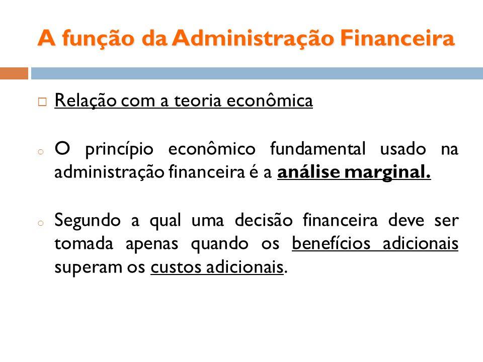 A função da Administração Financeira Relação com a teoria econômica o O princípio econômico fundamental usado na administração financeira é a análise