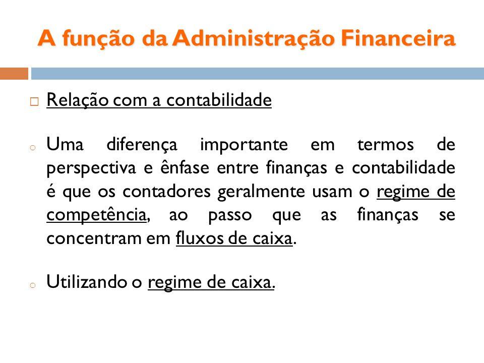 A função da Administração Financeira Relação com a contabilidade o Uma diferença importante em termos de perspectiva e ênfase entre finanças e contabi