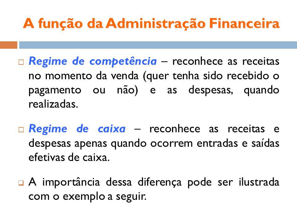 A função da Administração Financeira Regime de competência – reconhece as receitas no momento da venda (quer tenha sido recebido o pagamento ou não) e