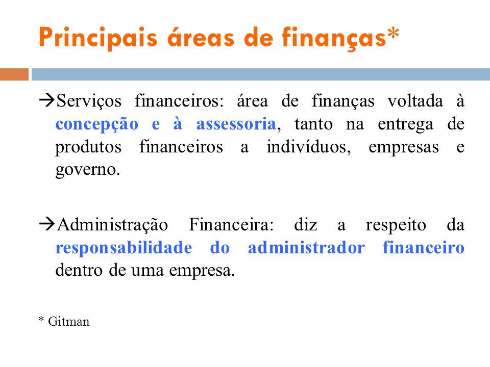 Principais áreas de finanças* Serviços financeiros: área de finanças voltada à concepção e à assessoria, tanto na entrega de produtos financeiros a in