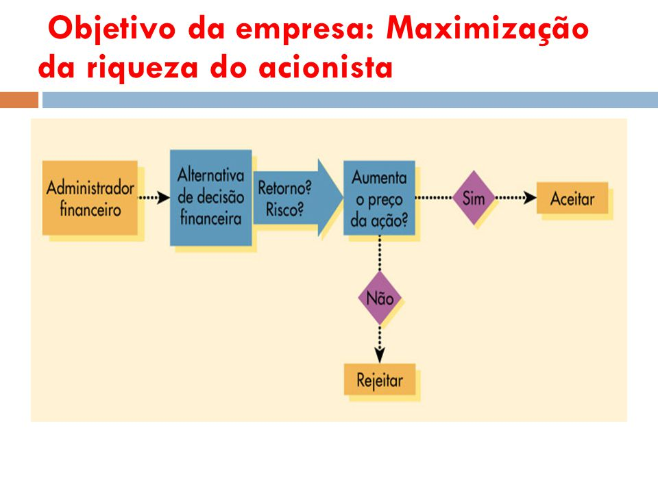 Objetivo da empresa: Maximização da riqueza do acionista