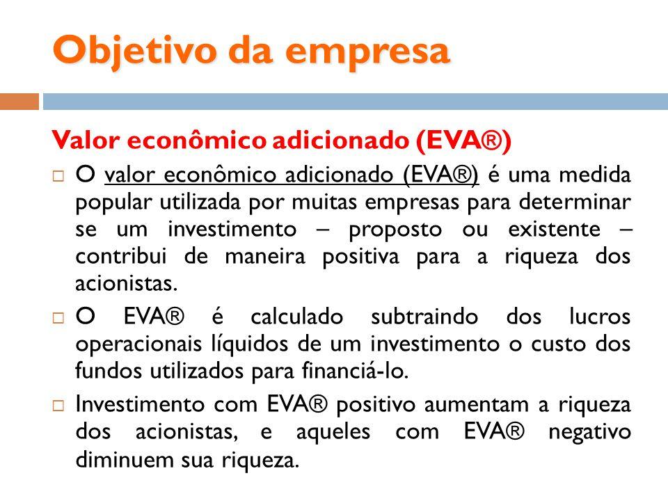 Objetivo da empresa Valor econômico adicionado (EVA®) O valor econômico adicionado (EVA®) é uma medida popular utilizada por muitas empresas para dete
