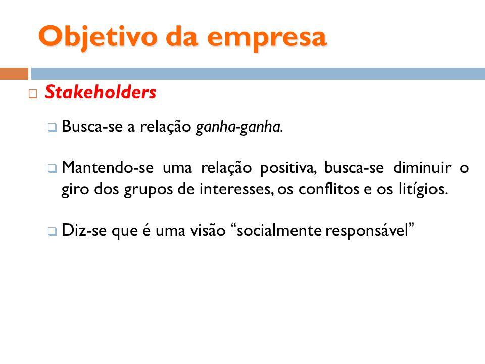 Objetivo da empresa Stakeholders Busca-se a relação ganha-ganha. Mantendo-se uma relação positiva, busca-se diminuir o giro dos grupos de interesses,