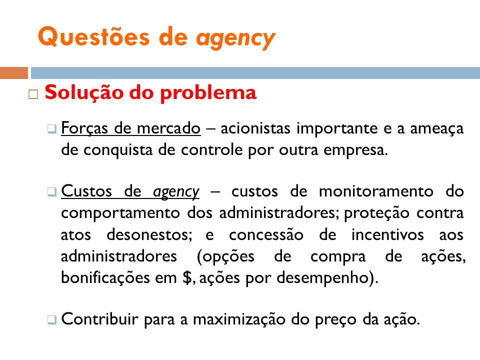 Questões de agency Solução do problema Forças de mercado – acionistas importante e a ameaça de conquista de controle por outra empresa. Custos de agen
